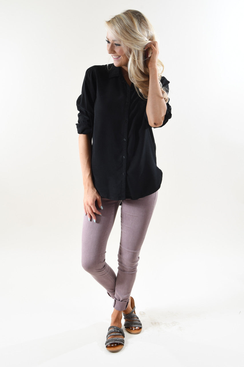 Essential Button Up Top ~ Black
