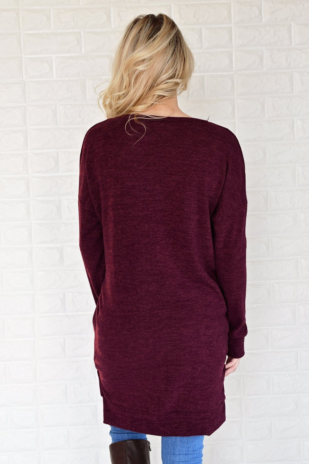 Burgundy V-Neck Tunic Top