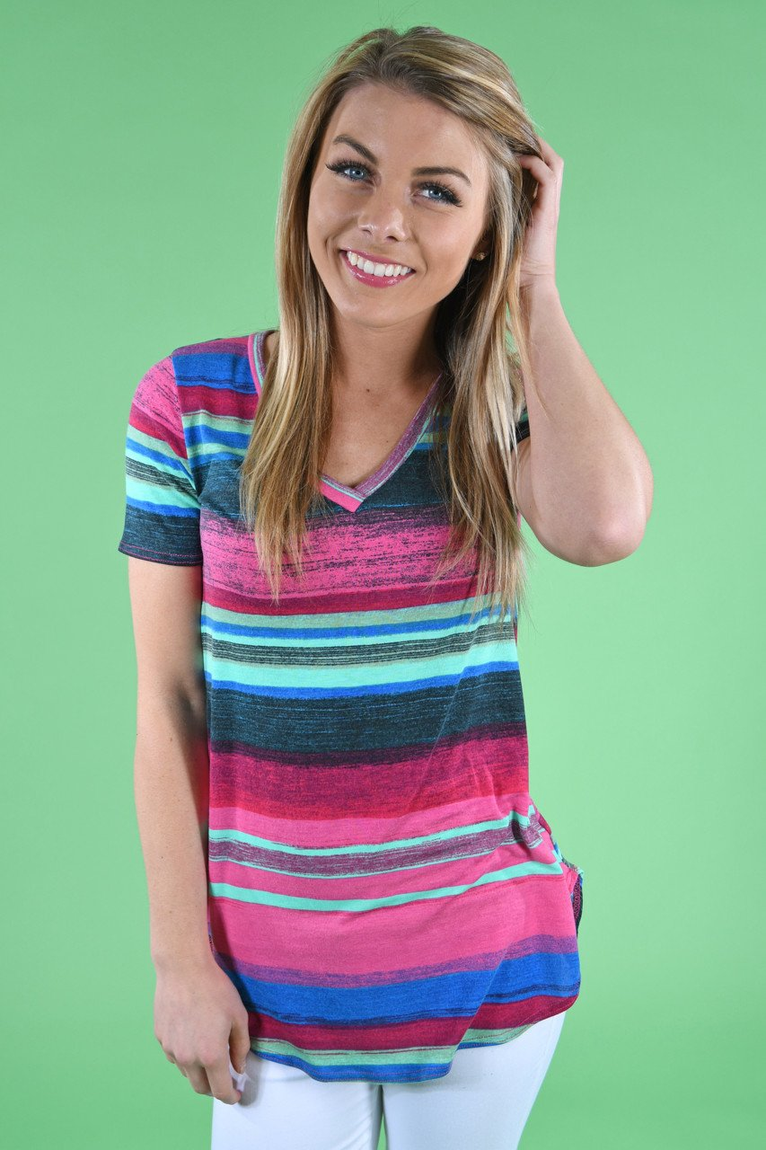 Rainbow striped top the pulse boutique for Boutique tops
