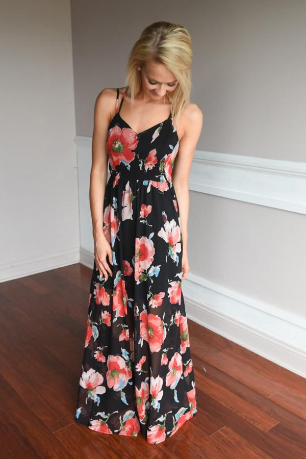 Among the Flowers Maxi Dress ~ Black
