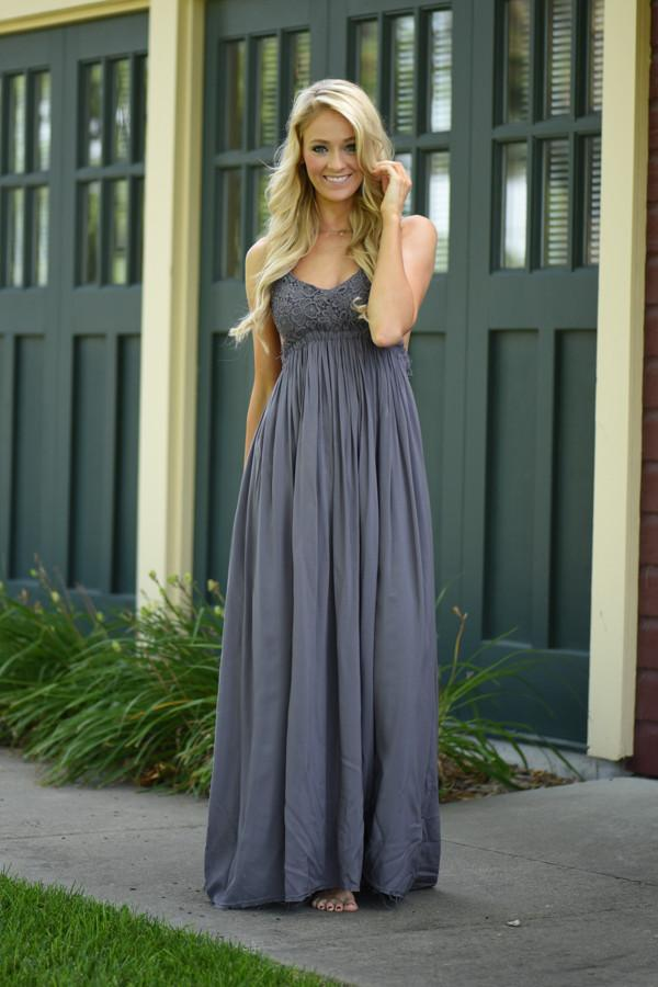 All Ruffled Up Maxi Dress ~ Grey