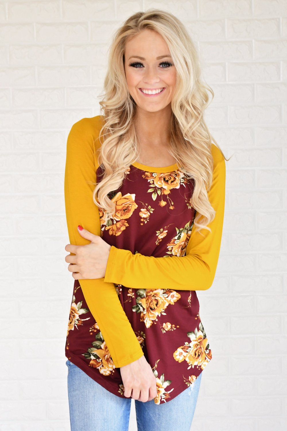 Happy in Floral Baseball Tee ~ Burgundy & Mustard