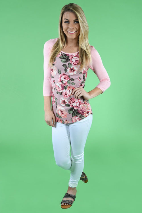 My Favorite Floral 3/4 Sleeve Top - Blush