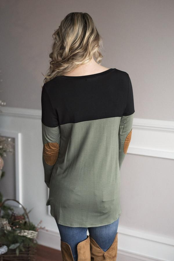 Suede Pocket Top - Olive