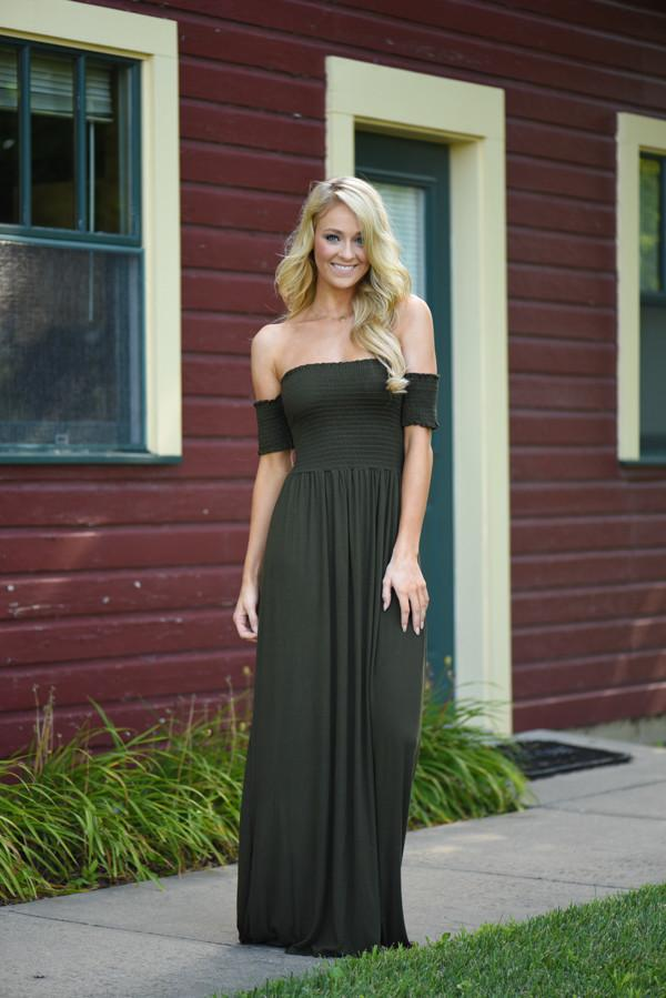 Olive Off The Shoulder Dress