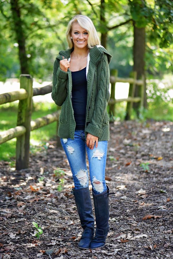 Faux Fur Lined Olive Top