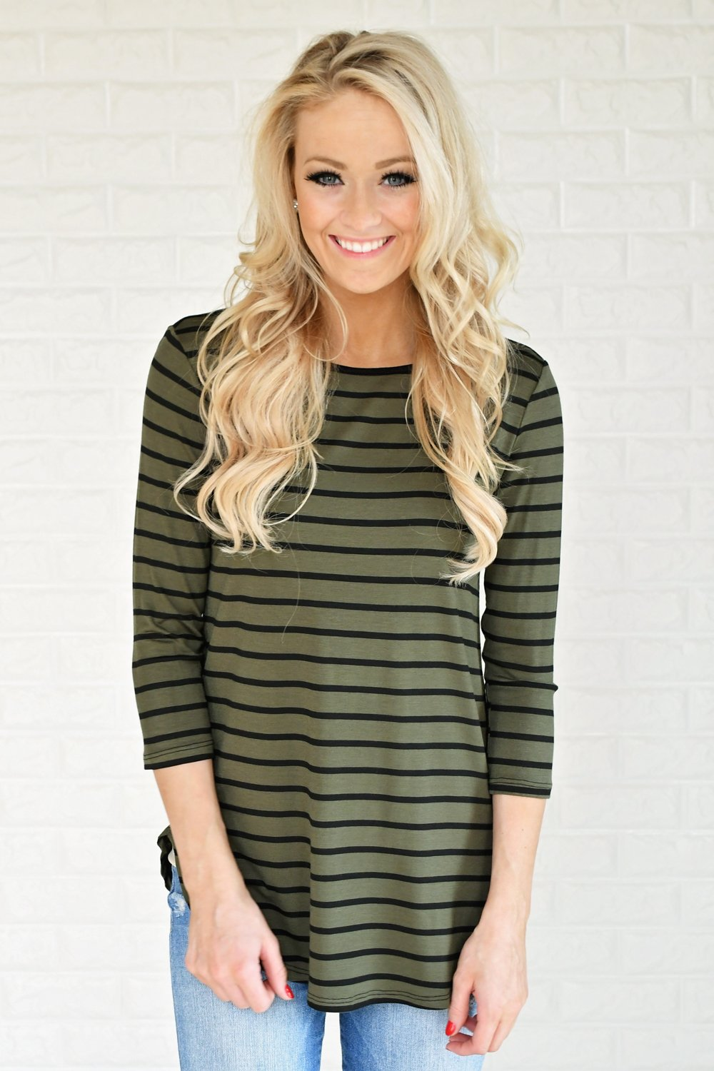 Olive Striped Top