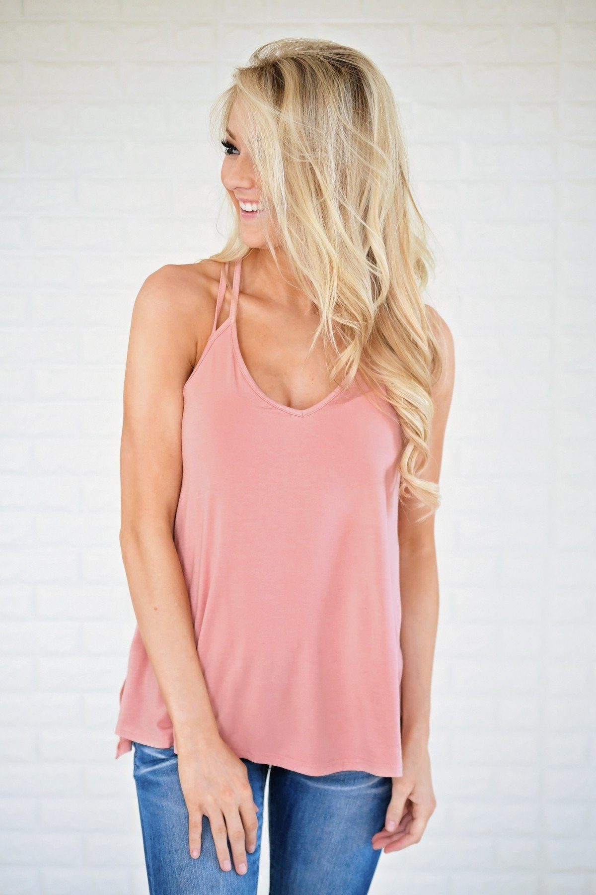 Peach Strappy Tank Top