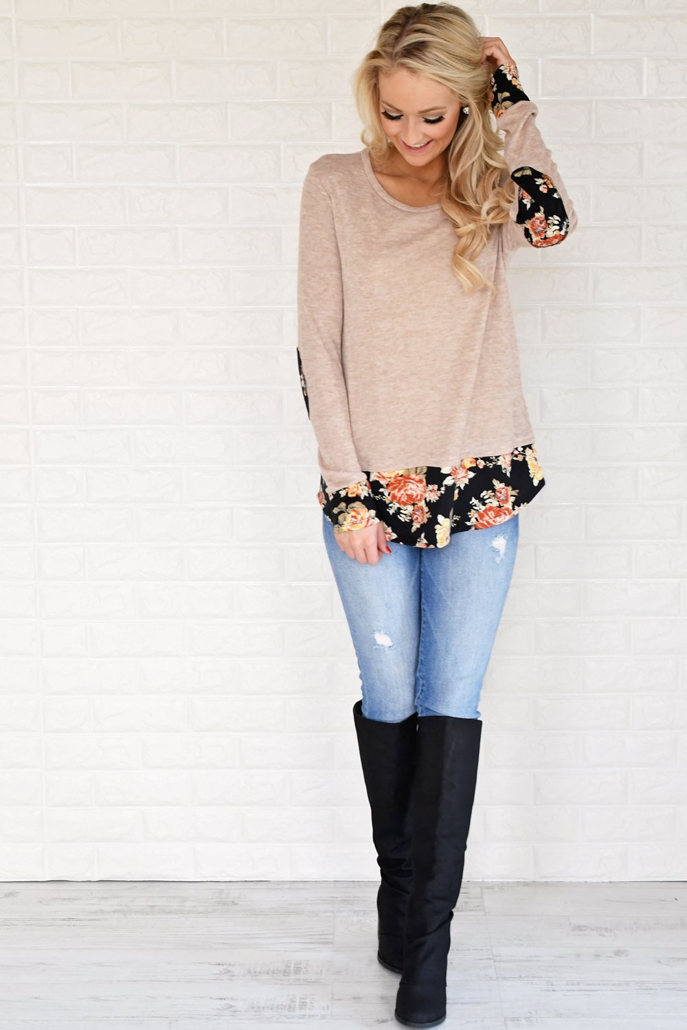 Lucky in Floral Top ~ Taupe
