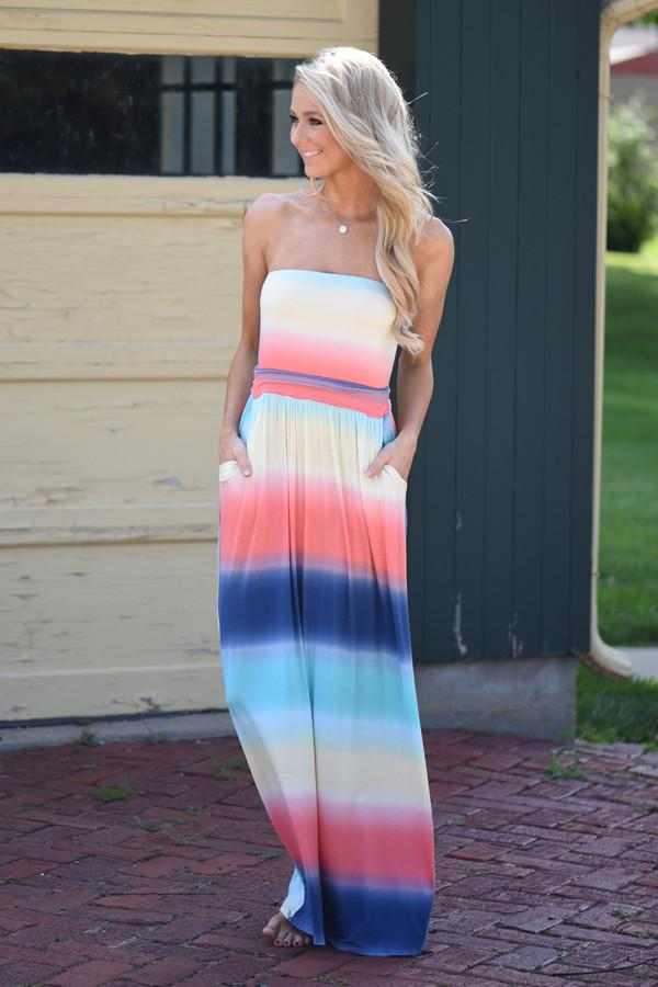 Sunrise in the Tropics Strapless Maxi Dress - Yellow