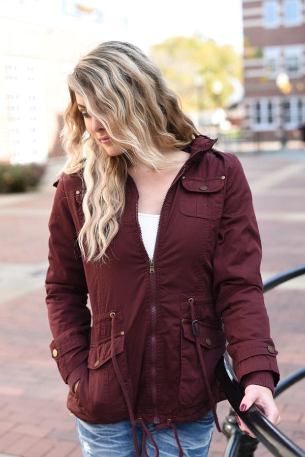 Feeling Toasty Faux Fur Burgundy Coat