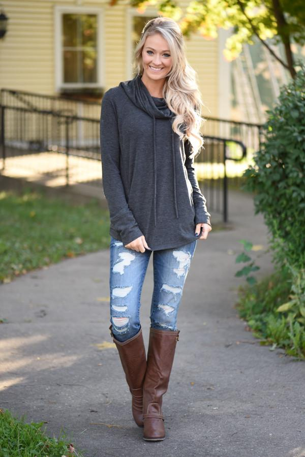 Between You & Me Cowl Neck Top - Charcoal