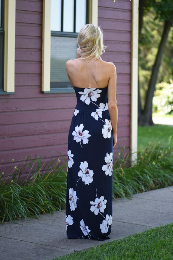 Navy Strapless Floral Maxi Dress with Pockets
