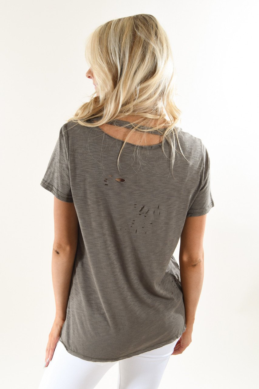 Army Green Holey Top