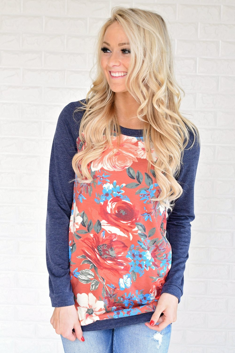Be Bold Floral Baseball Tee ~ Salmon & Navy