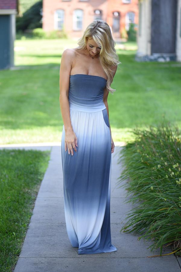 Strapless Ombre Maxi Dress - Blue