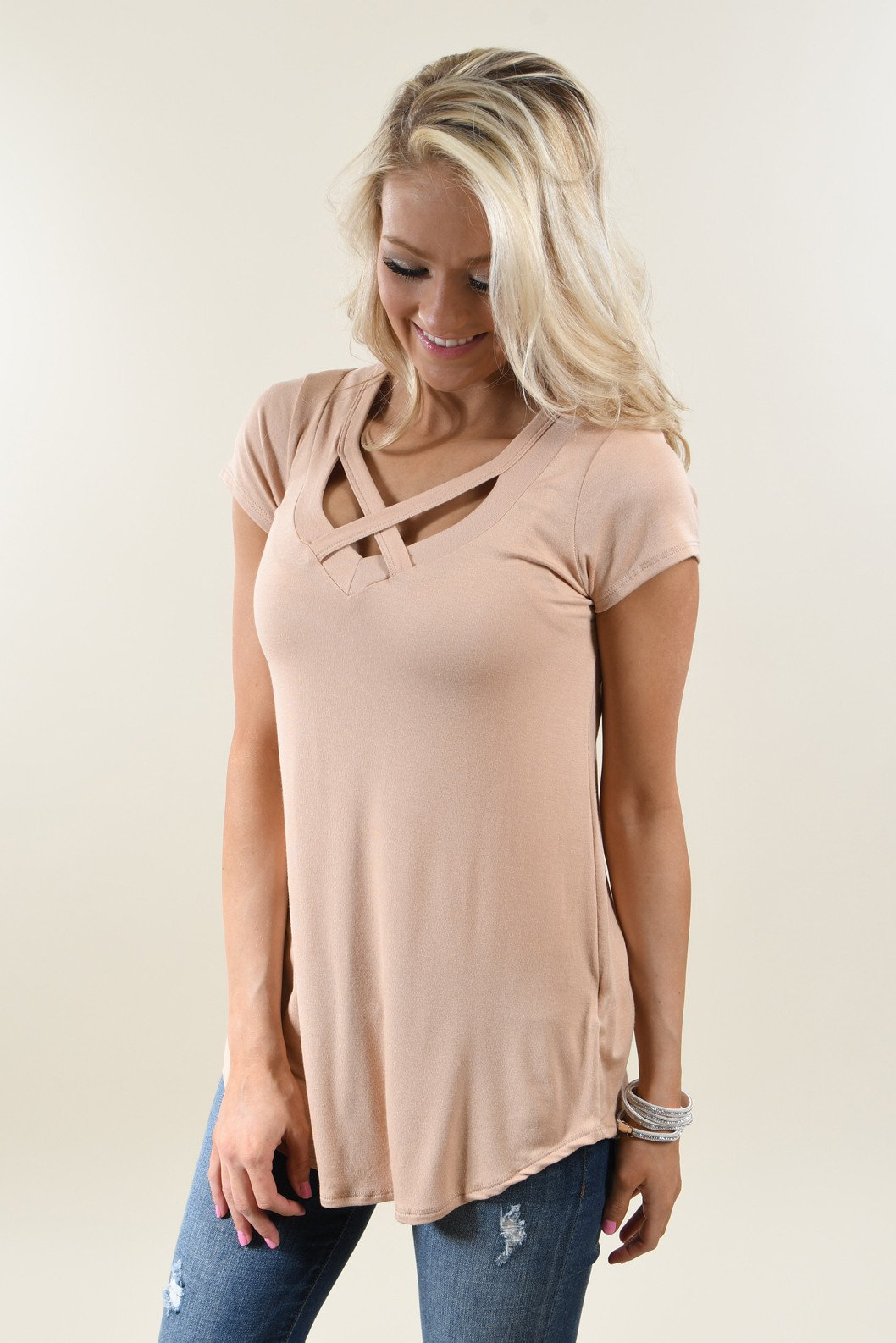 The Promise Criss Cross Top ~ Taupe