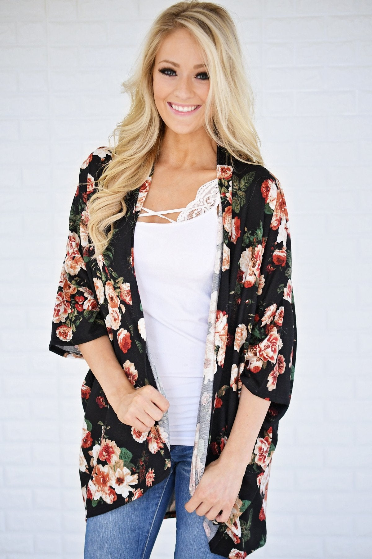 Find My Way Floral Cardigan - Black