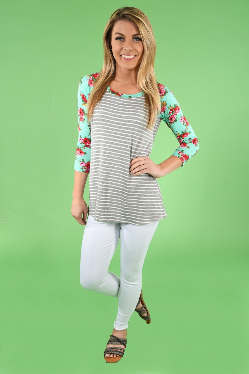 Mint Floral and Grey 3/4 Sleeve Top