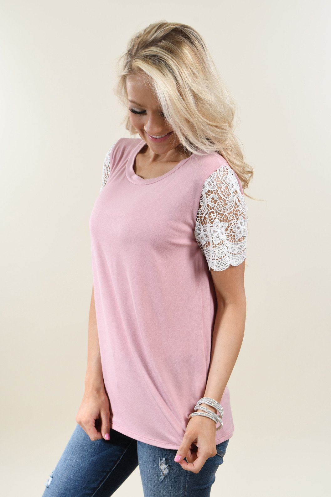 It's All Cool Detail Sleeve Top ~ Pink