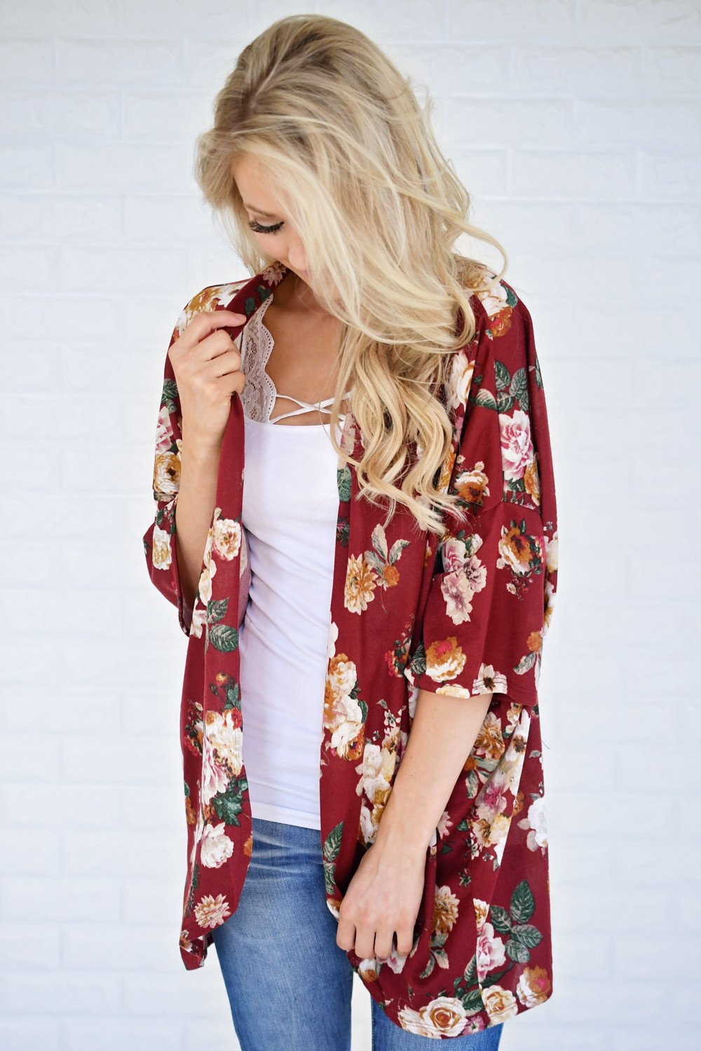 Find My Way Floral Cardigan - Burgundy