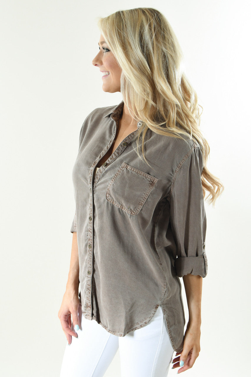 Essential Button Up Top ~ Mocha