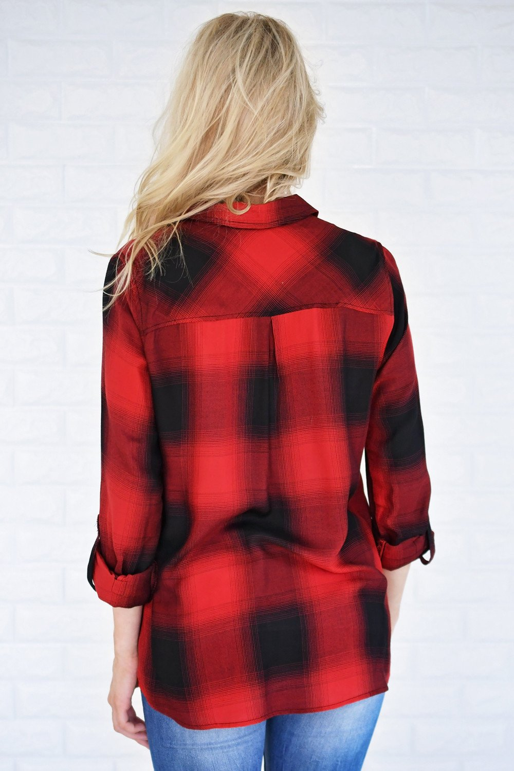 Buffalo Plaid Button Up Top