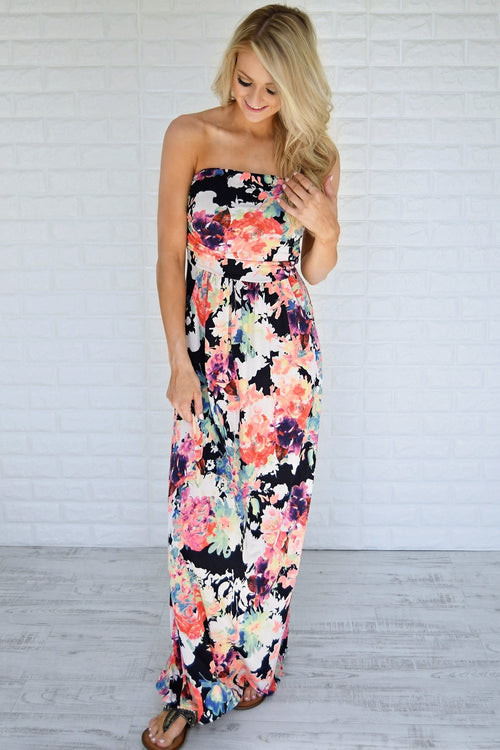 Ticket to Paradise Strapless Maxi Dress