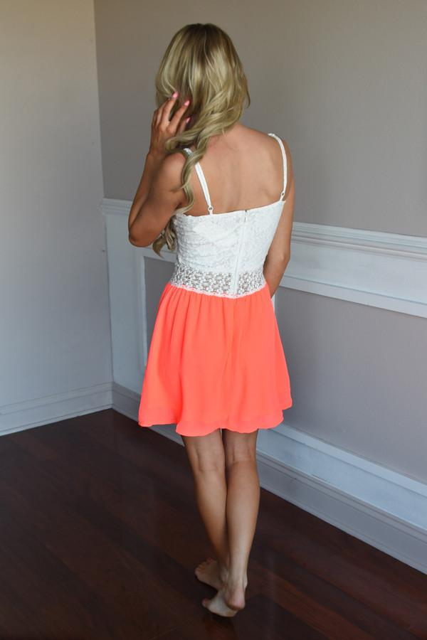 First to Dance Dress ~ Neon Coral