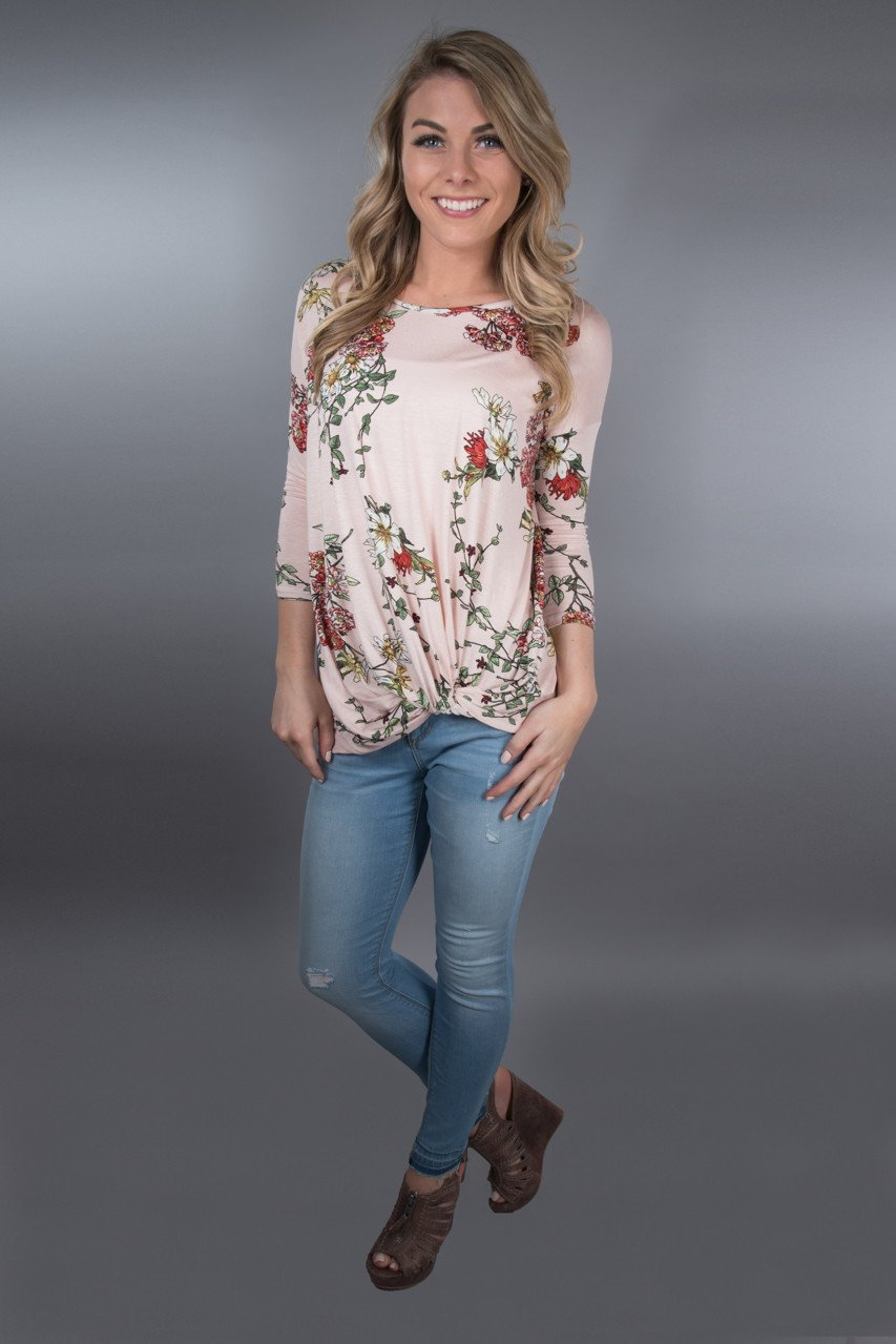 Pink Floral Knot Top