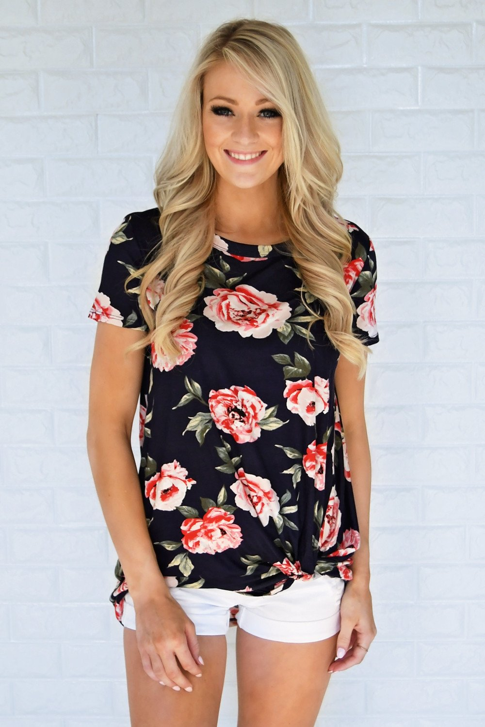 Everyday Beauty Floral Top ~ Navy