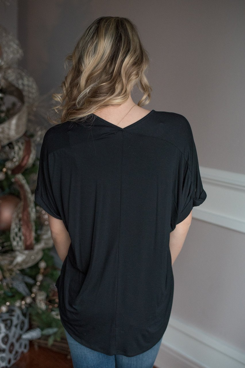 Black Slouchy V-Neck Top