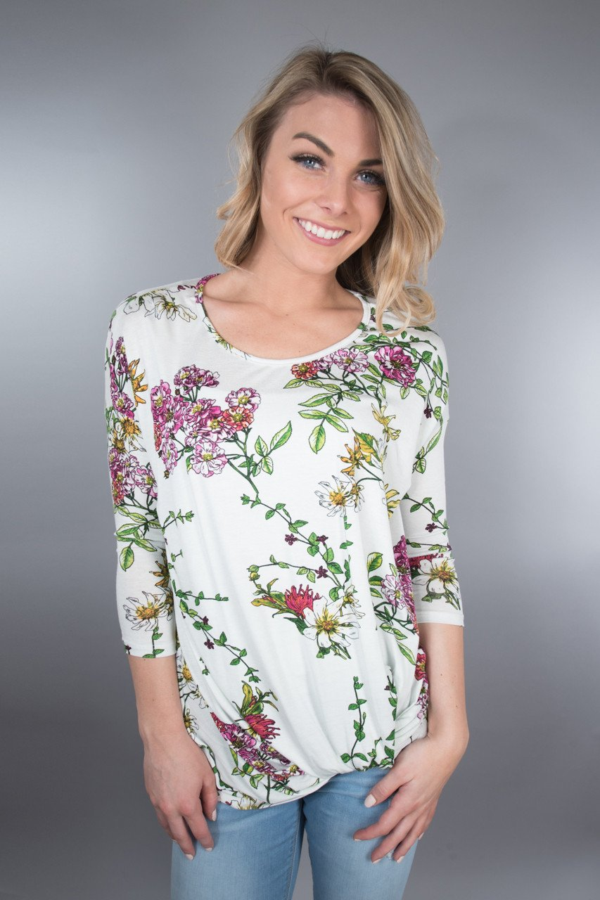Ivory Knot Floral Top