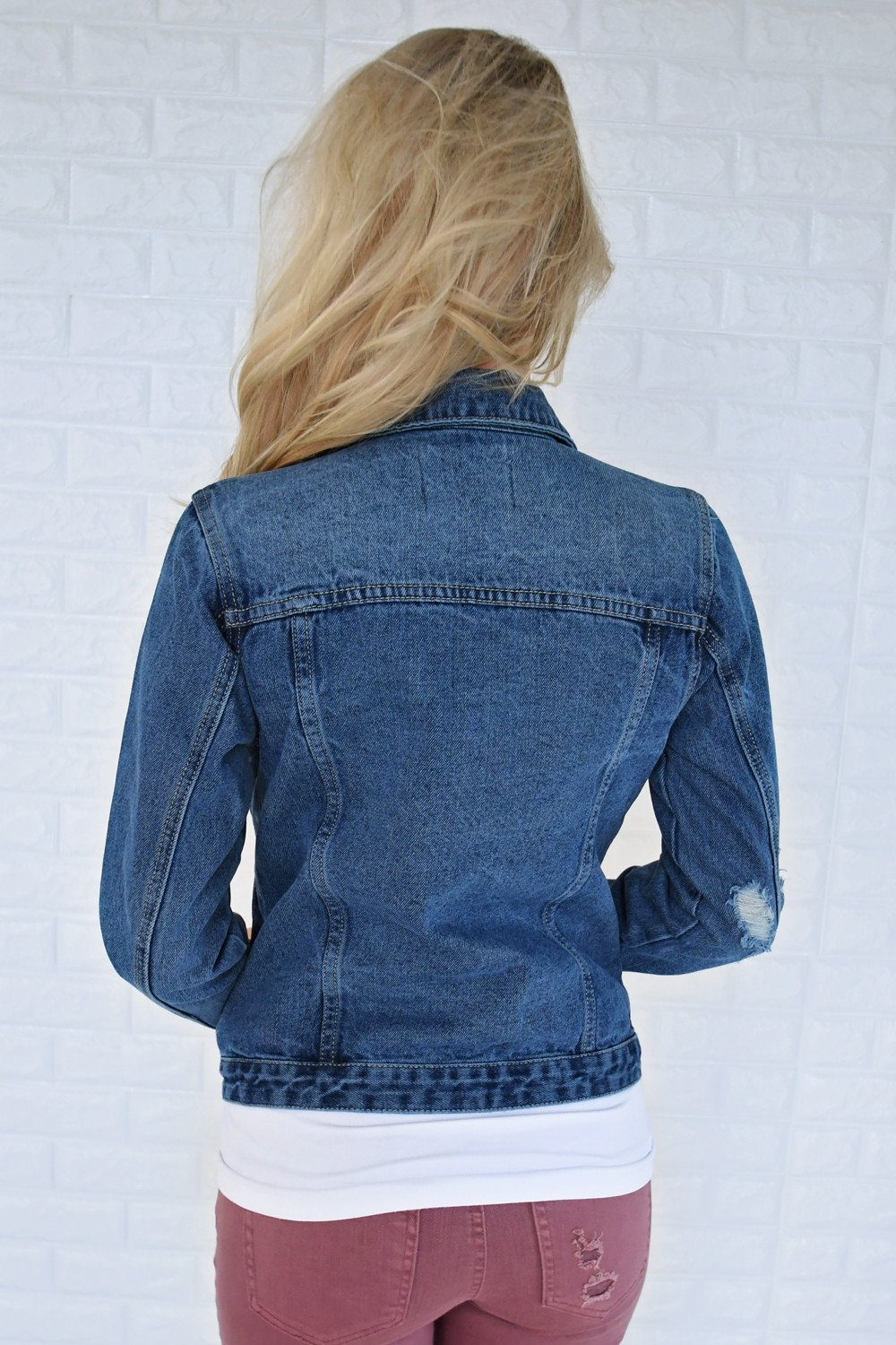 Distressed Medium Wash Denim Jacket