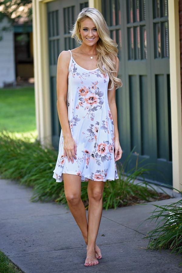 Fall Floral Mid Length Dress
