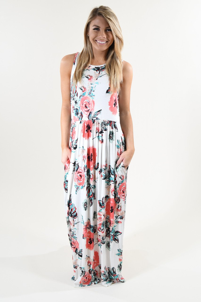 Sweet Pea Maxi Dress ~ Ivory Floral