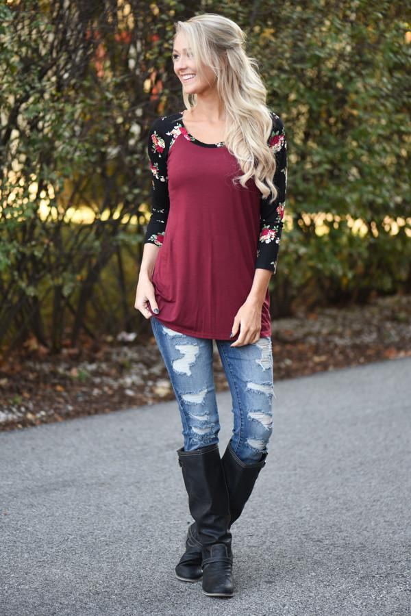 Burgundy Floral 3/4 Sleeve Top