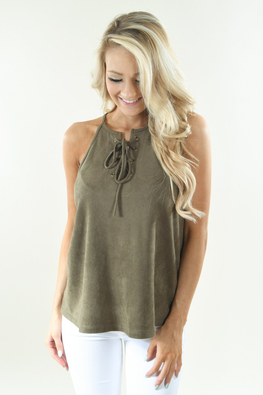 Per-Suede Me Tank - Olive