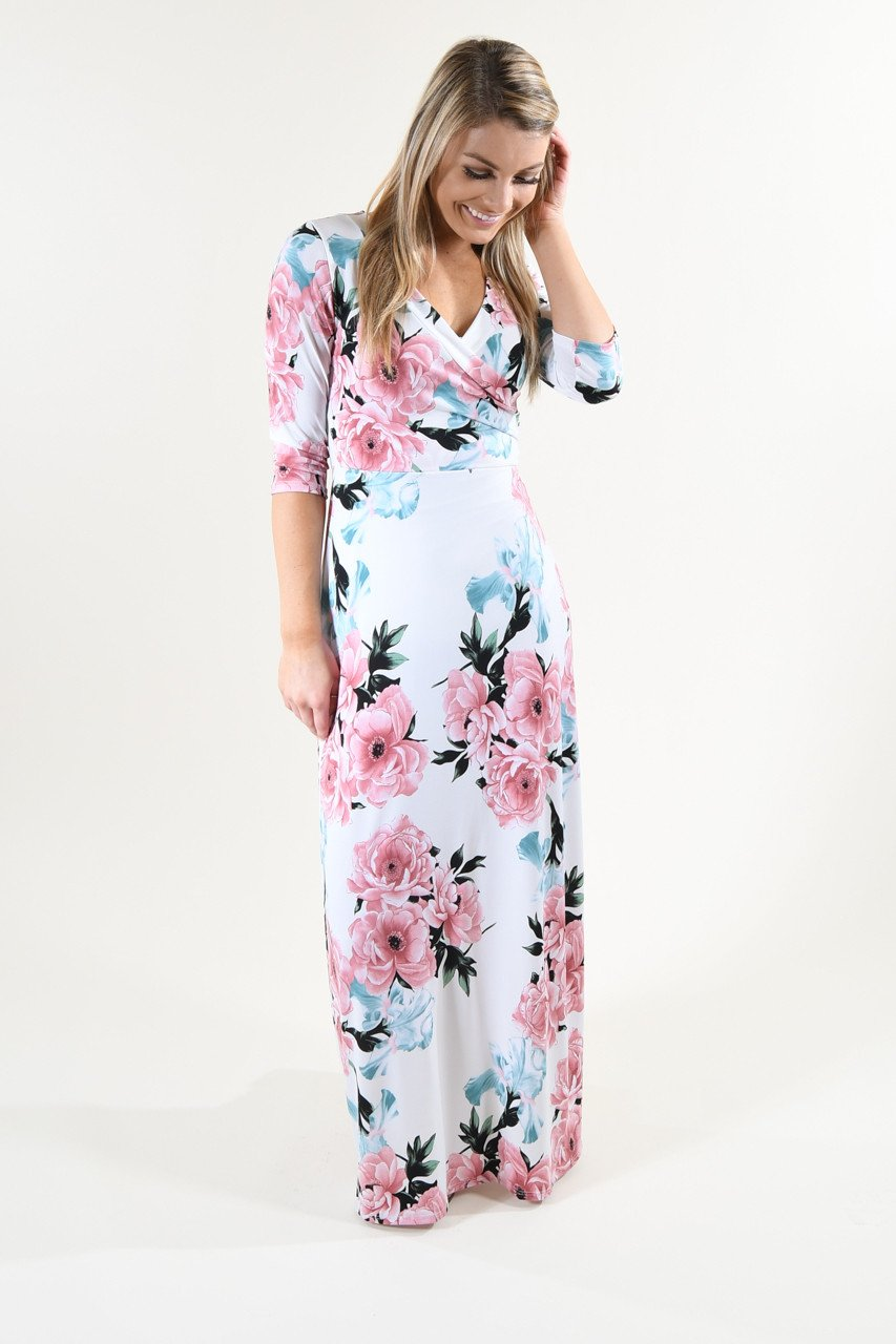 3/4 Sleeve Ivory Floral Maxi Dress