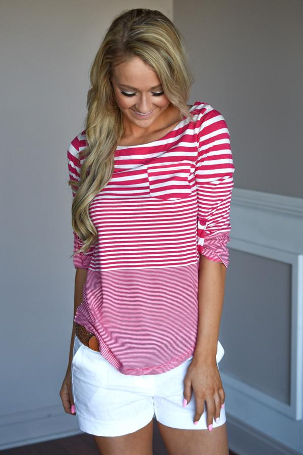 Fav 3/4 Sleeve Top ~ Pink