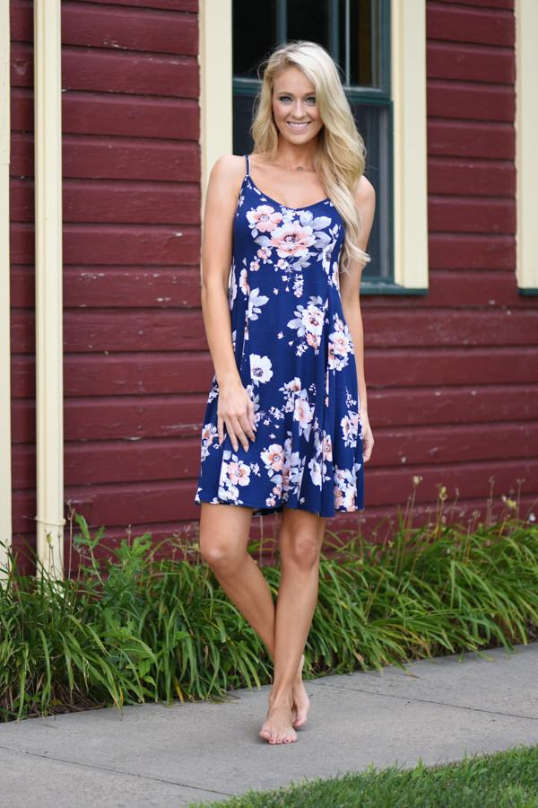 Fall Floral Mid Length Dress - Navy