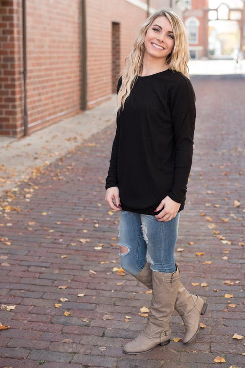 Snuggle Me Tunic Top ~ Black