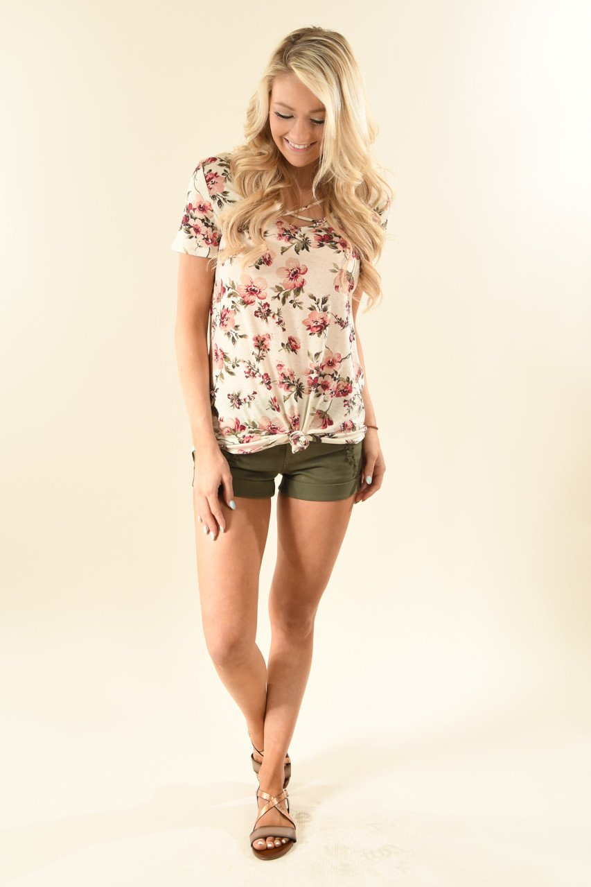 Strawberry Cream Floral Top