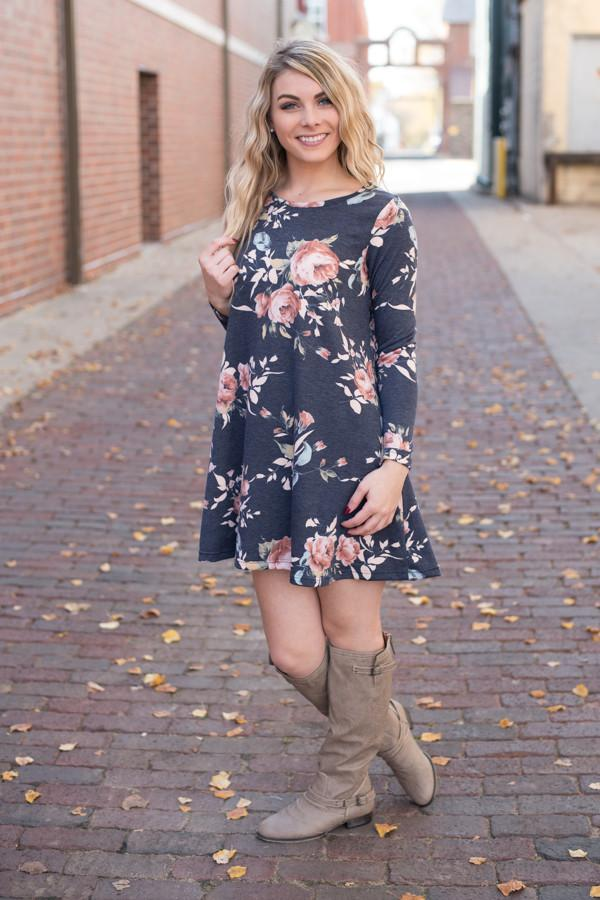 Florence Floral Dress ~ Navy Blue