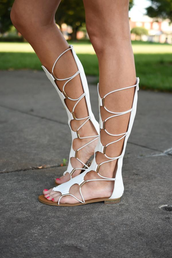 White Gladiator Sandals **Limited Sizing Available**