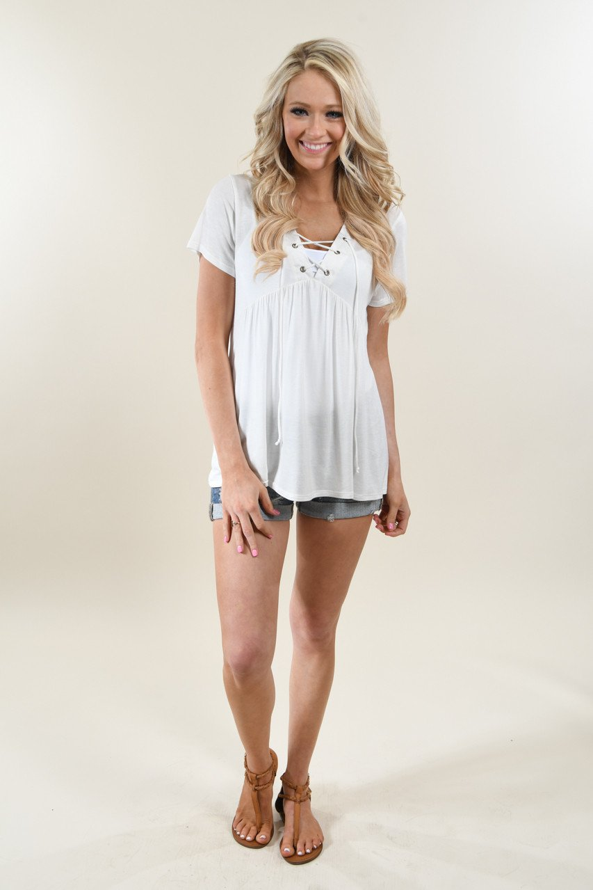 Favorite Lace Up Top ~ Solid Ivory