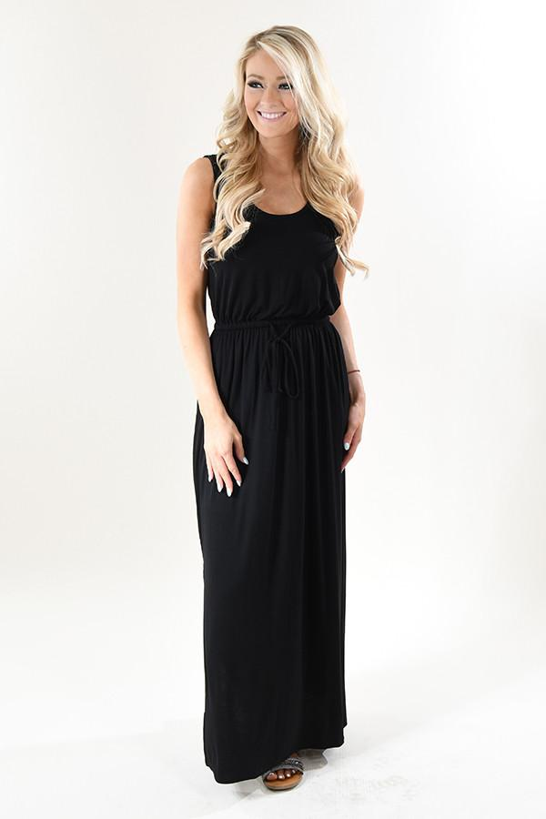 Black Drawstring Maxi Dress