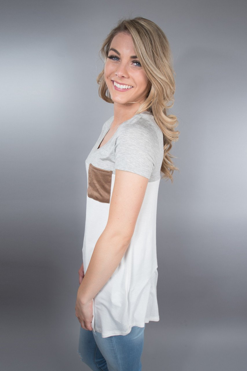 Heather Grey Pocket Top