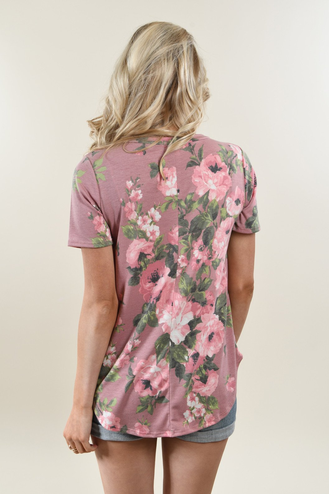 Yours Truly Floral V-Neck Mauve