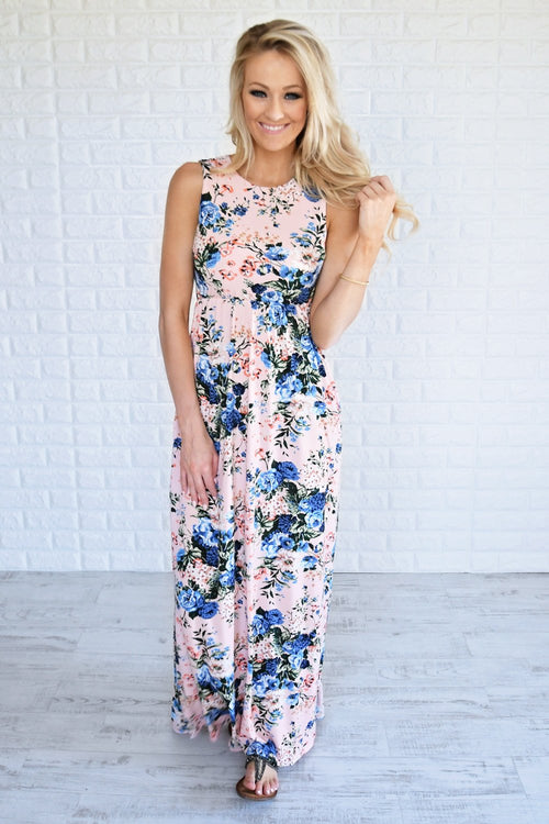 Beautiful Bouquet Floral Maxi Dress ~ Pink